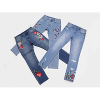 Ladies embroidered stretch jeans